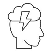 Head with lightning and cloud thin line icon, brainstorming concept, creative thinking idea sign on white background, human brain with flash icon in outline style for mobile. Vector graphics