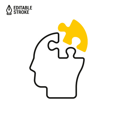Head with puzzle piece icon. Concept of whole person. Vector outline icon with editable stroke
