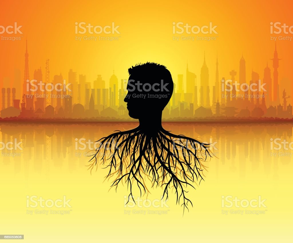 Head with Roots Concept vector art illustration