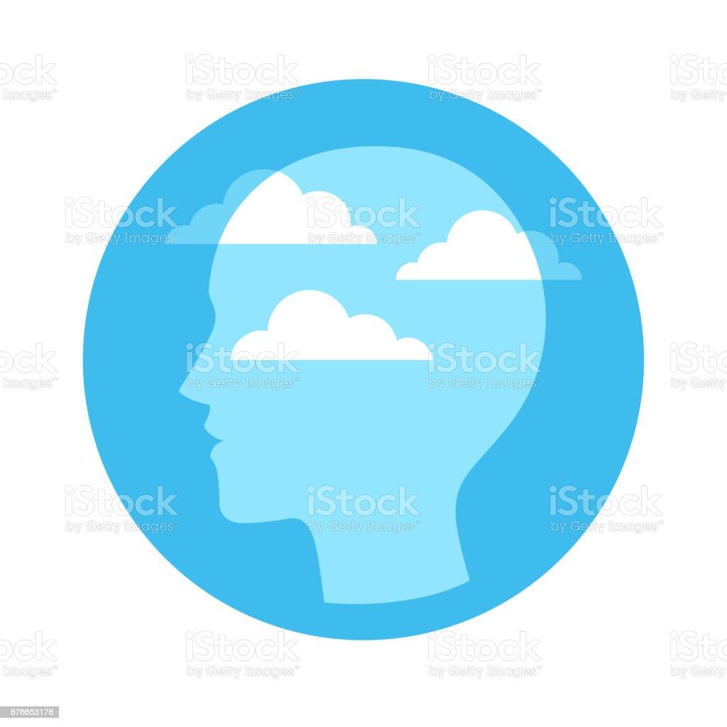 Cabeça com céu e nuvens - ilustração de arte em vetor