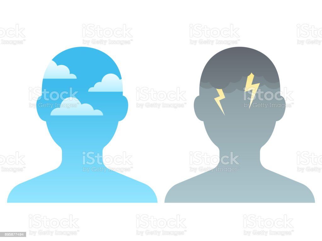 Head with sky and clouds vector art illustration