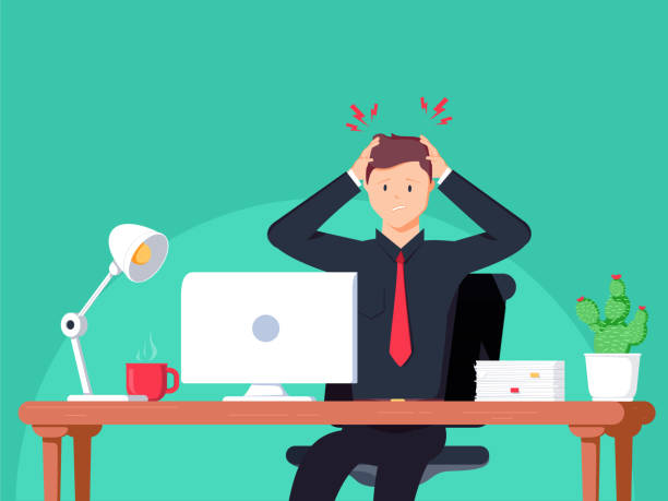 Headache. Businessman working in the office. Flat vector illustration in cartoon style. Headache. Businessman working in the office. Flat vector illustration in cartoon style. Man have ache on work space. Employment working hard for career growth. Adult life Healthcare concept frustration stock illustrations