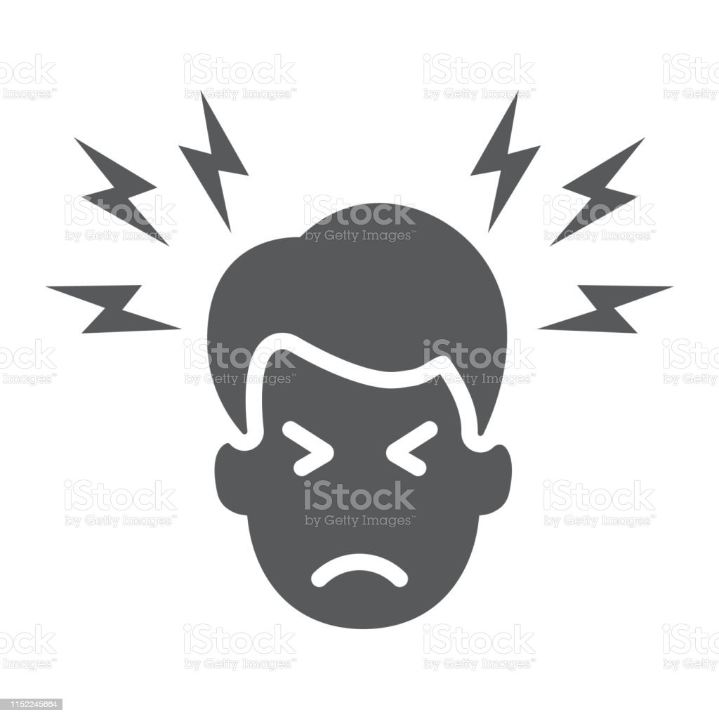 Headache glyph icon, body and pain, head pain sign, vector graphics,...