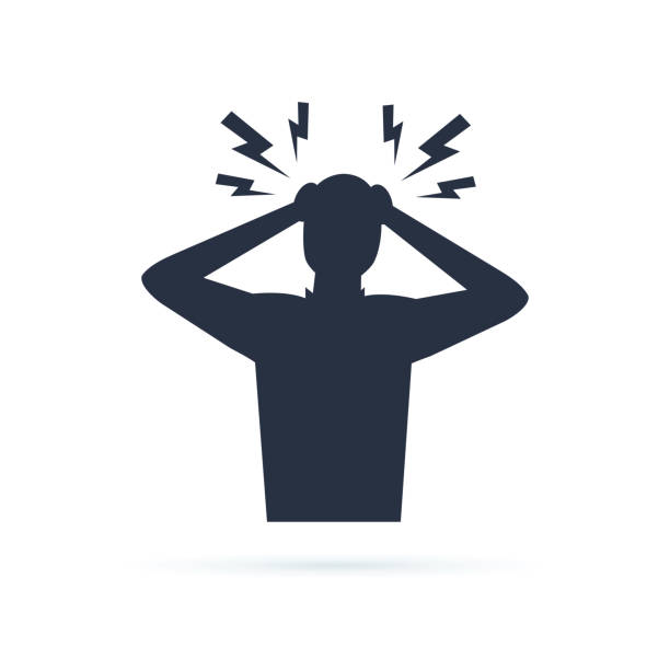 Headache glyph icon. Silhouette symbol. Anger and irritation. Frustration. Nervous tension. Aggression. Occupational Headache glyph icon. Silhouette symbol. Anger and irritation. Frustration. Nervous tension. Aggression. Occupational stress. Emotional stress symptom. Negative space. Vector isolated illustration crisis stock illustrations
