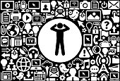 Headache  Icon Black and White Internet Technology Background. This image features the main icon on a white round button. The vector button is surrounded by a seamless pattern of internet and modern technology icons. The icons vary in size and are white in color. The background is a solid black color. Icons include such technology elements as computer, email, internet, communications and many more.