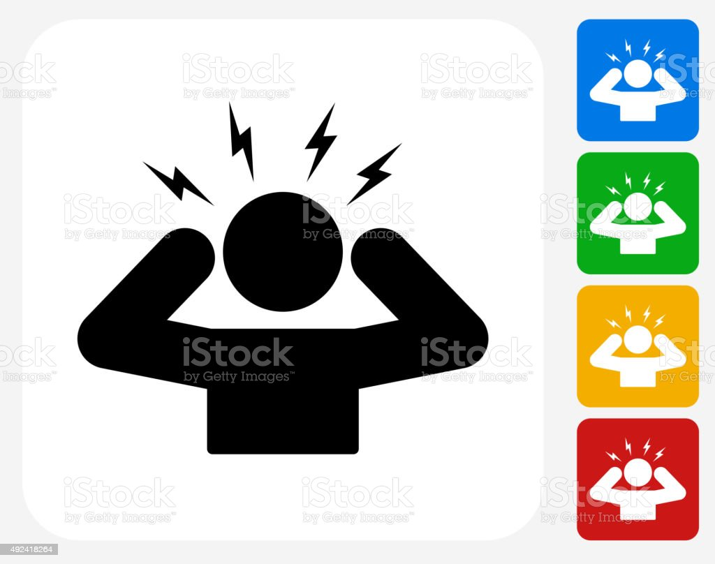 Headache Icon Flat Graphic Design vector art illustration