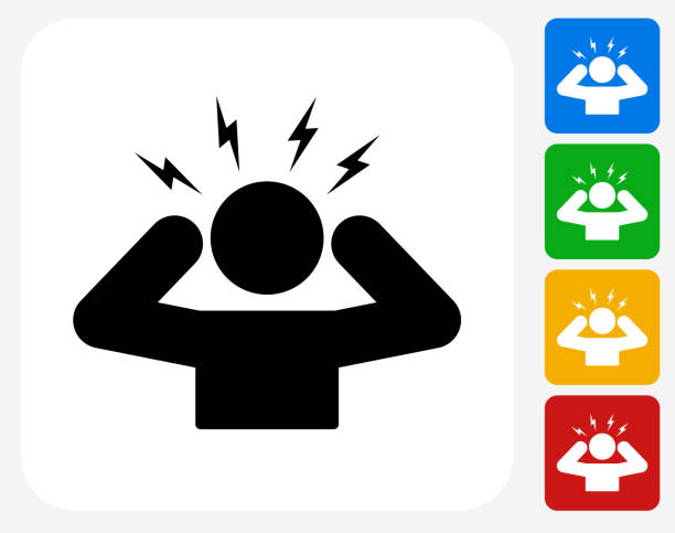 Headache Icon Flat Graphic Design Headache Icon. This 100% royalty free vector illustration features the main icon pictured in black inside a white square. The alternative color options in blue, green, yellow and red are on the right of the icon and are arranged in a vertical column. headache stock illustrations