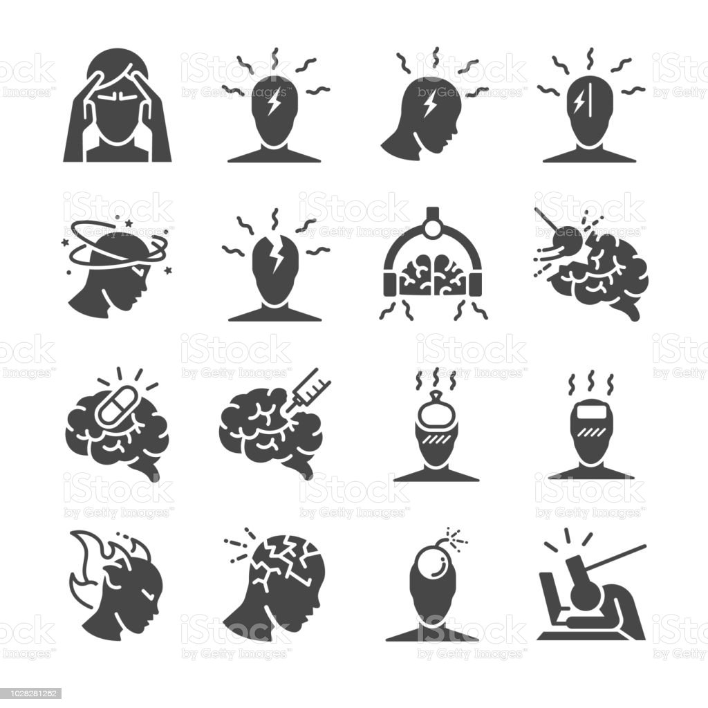 Headache icon set. Included the icons as Tension headaches, Cluster headaches, Migraine, brain symptom and more royalty-free headache icon set included the icons as tension headaches cluster headaches migraine brain symptom and more stock illustration - download image now