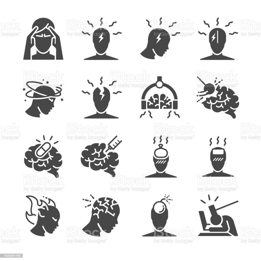 Headache icon set. Included the icons as Tension headaches, Cluster headaches, Migraine, brain symptom and more - illustrazione arte vettoriale