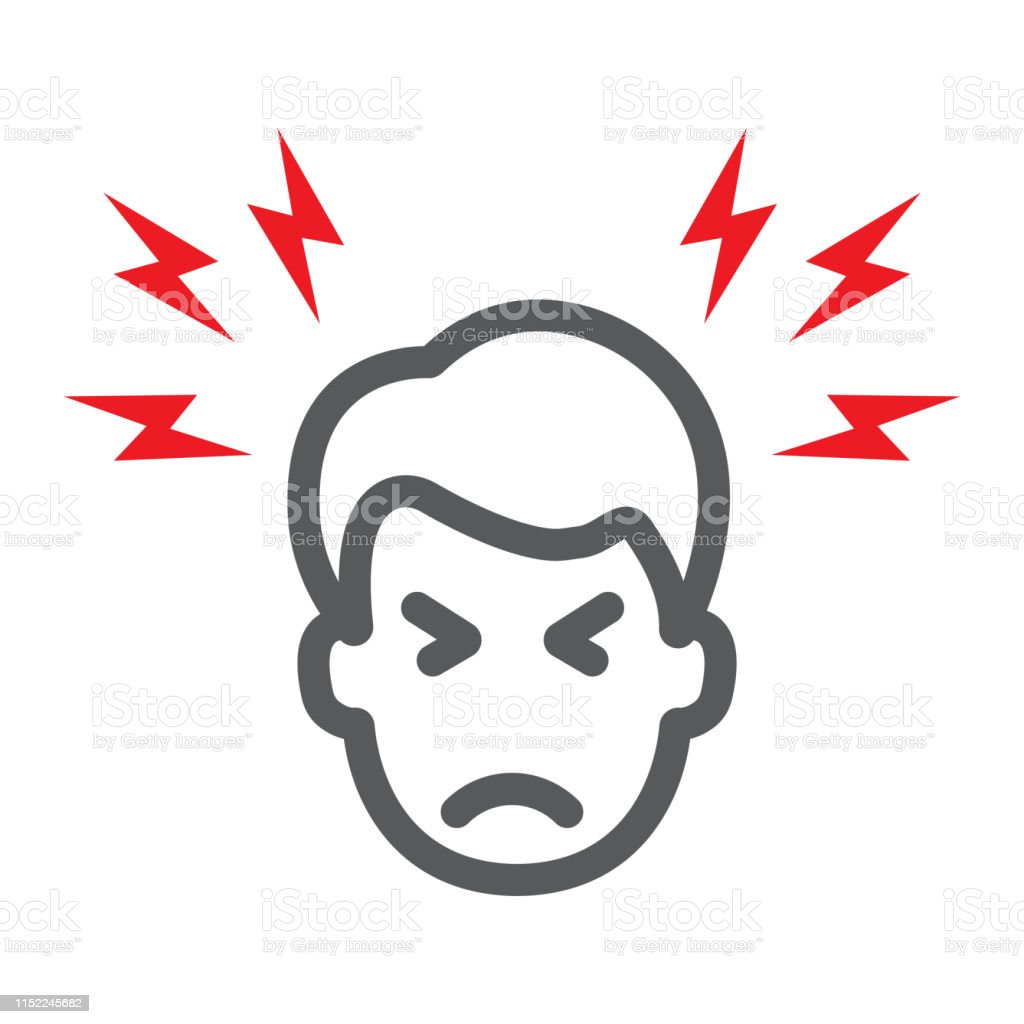 Headache line icon, body and pain, head pain sign, vector graphics, a...