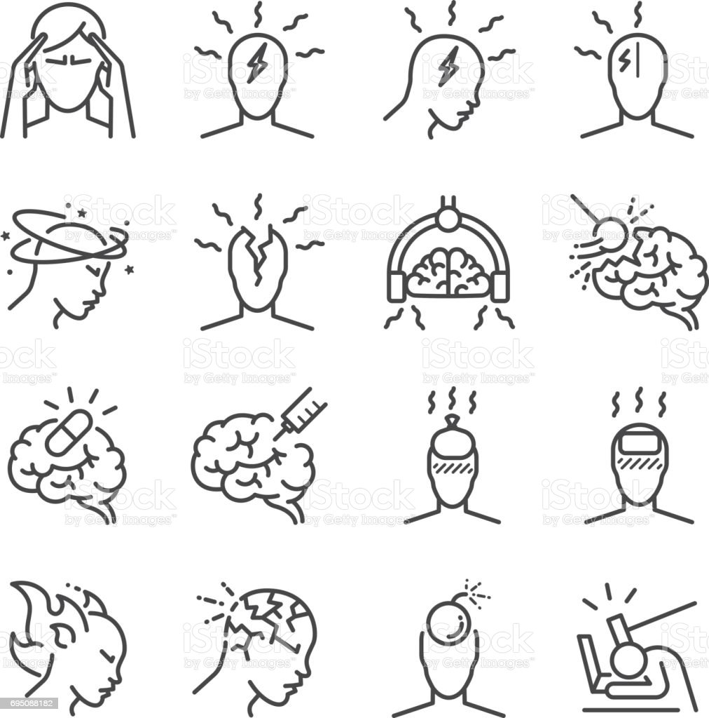 Headache line icon set. Included the icons as Tension headaches, Cluster headaches, Migraine, brain symptom and more. Headache line icon set. Included the icons as Tension headaches, Cluster headaches, Migraine, brain symptom and more. Adult stock vector