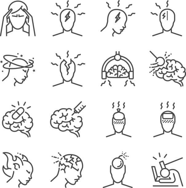 Headache line icon set. Included the icons as Tension headaches, Cluster headaches, Migraine, brain symptom and more. Headache line icon set. Included the icons as Tension headaches, Cluster headaches, Migraine, brain symptom and more. tired woman stock illustrations