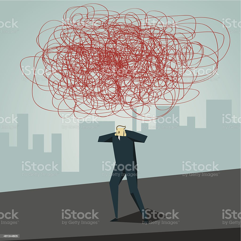 Headache vector art illustration