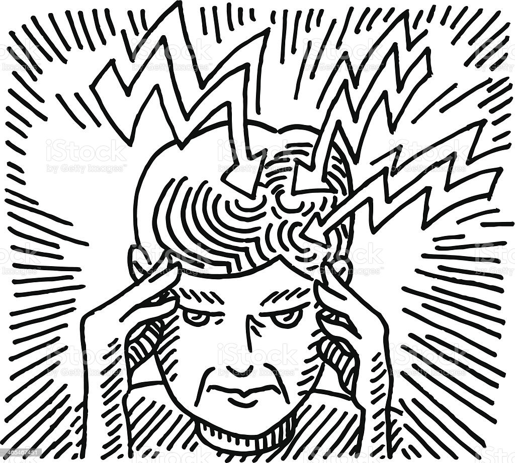Headache Woman Healthcare Drawing vector art illustration