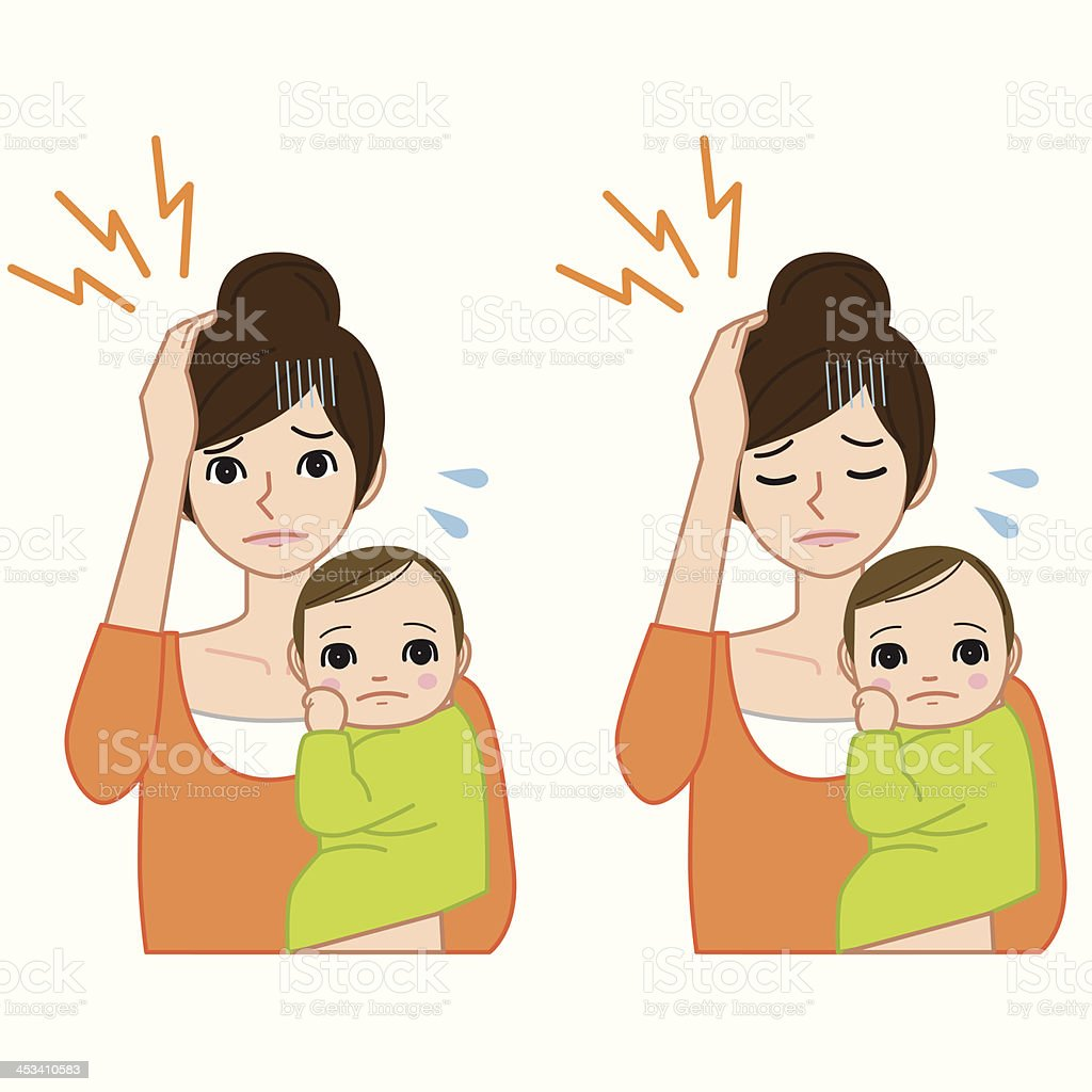 Headache woman with baby vector art illustration