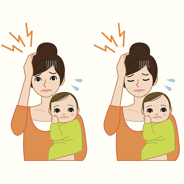 Headache woman with baby vector art illustration