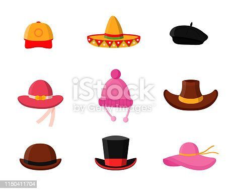 Headdress flat vector illustrations pack. Men and women headwear shop. Fashionable wardrobe accessories. Baseball cap, mexican sombrero, stylish beret. Panama, cowboy hat, magician cylinder, bowler