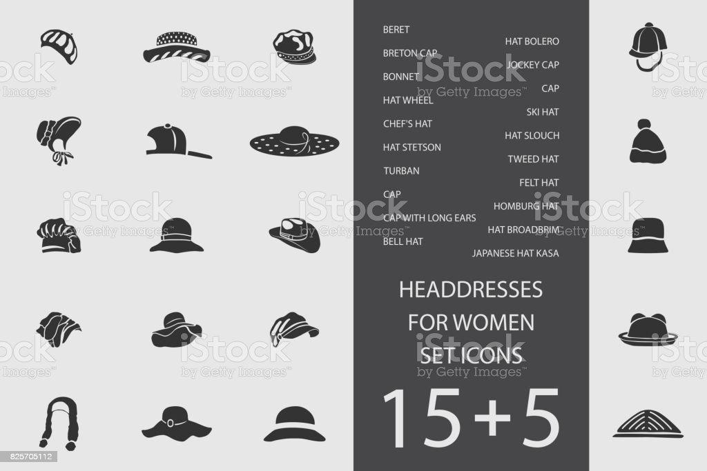 Headdresses for women set of flat icons. Vector illustration vector art illustration