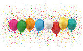 Colored balloons with confetti on the white. Eps 10 vector file.