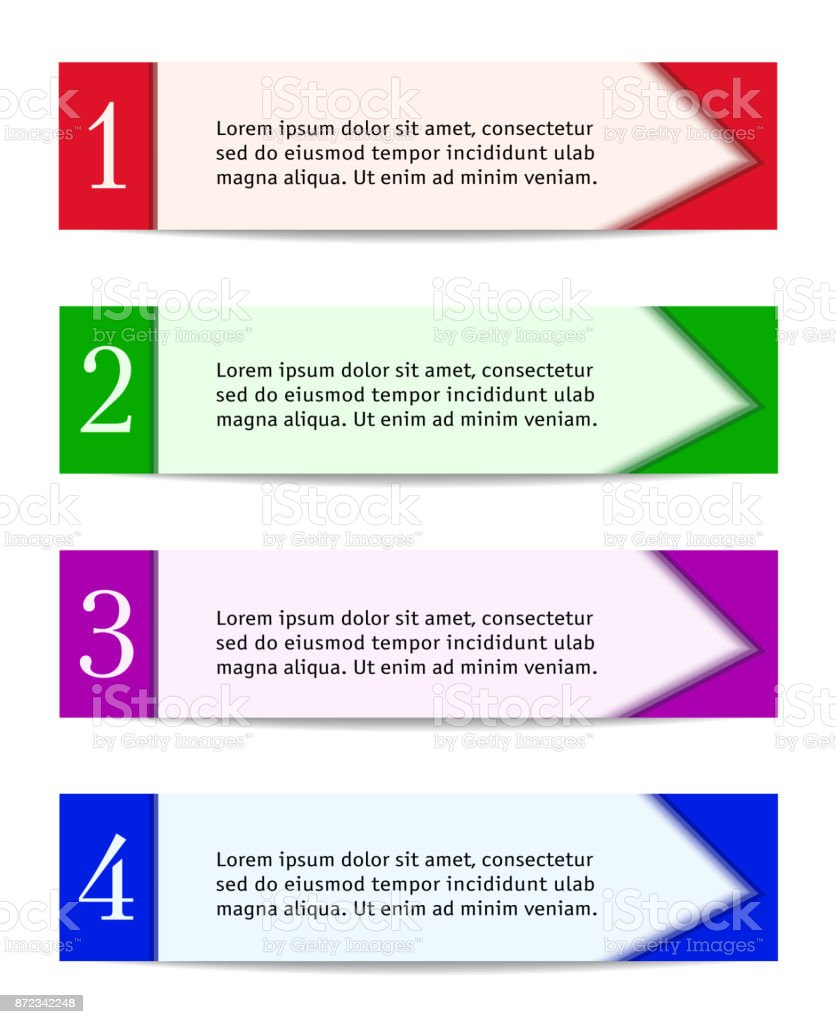 header designs four banners in red green purple blue horizontal