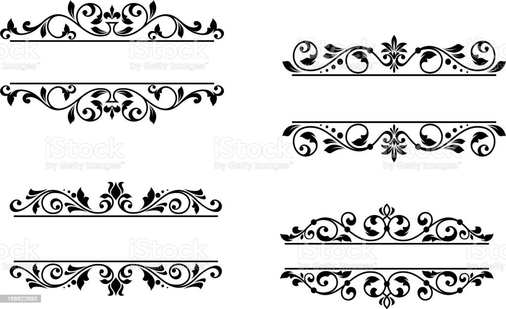 Header frame with retro floral elements royalty-free stock vector art