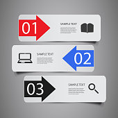 Colorful Numbered Headers or Banners with Arrows - Infographic Template in Freely Scalable and Editable Vector Format