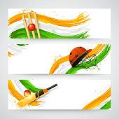 Website header or banner set for Cricket with national flag colors, bat, ball and helmet.