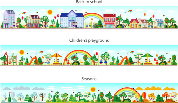 bildbanksillustrationer, clip art samt tecknat material och ikoner med header set in flat style. vector - children autumn