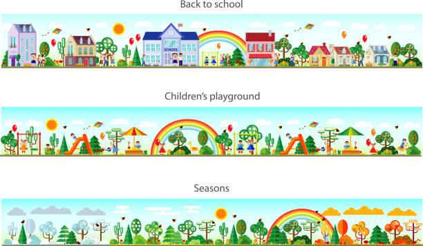header set in flat style. vector - recess stock illustrations, clip art, cartoons, & icons