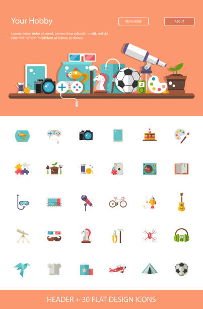 Header with modern flat design hobby icons and infographics elem Header with vector modern flat design hobby icons and infographics elements set for your website illustration hobbies stock illustrations