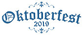 EPS 10 vector file with blue and white header with text Oktoberfest 2019