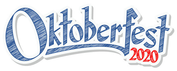 Header with text Oktoberfest 2020 blue and white header with scribble pattern and text Oktoberfest 2020 oktoberfest stock illustrations