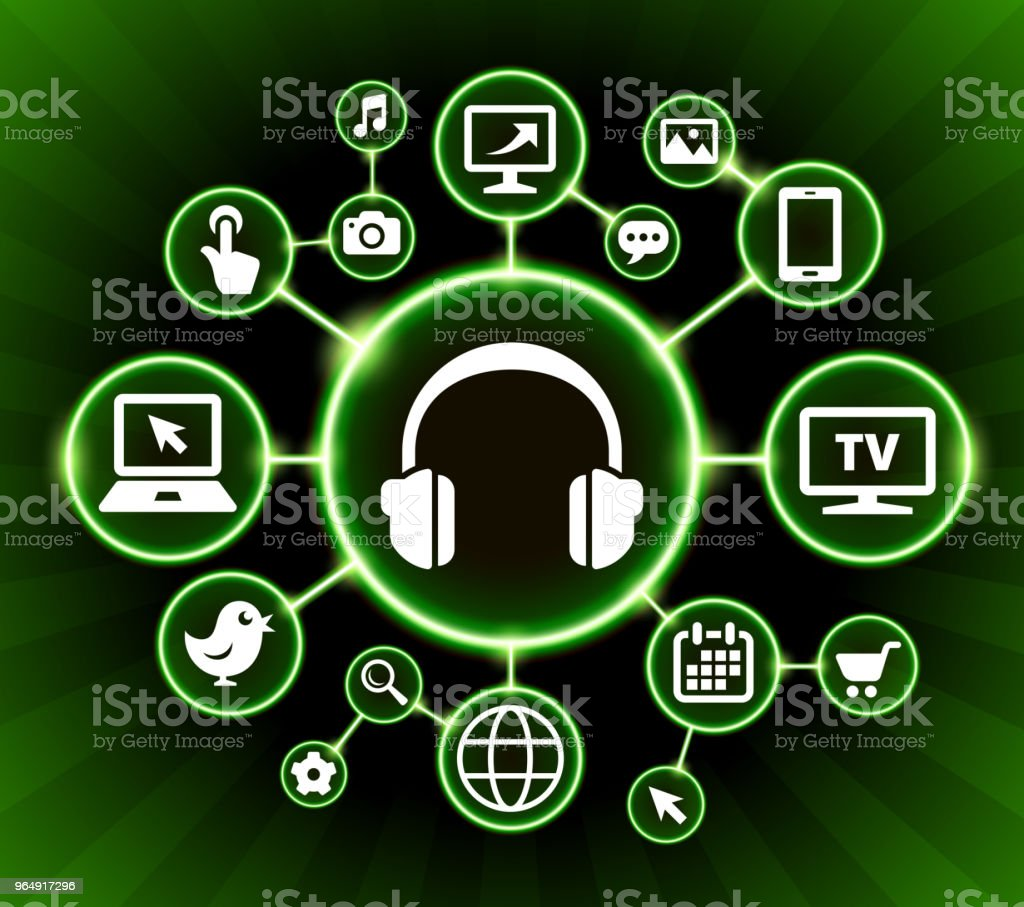 Headhphones Internet Communication Technology Dark Buttons Background vector art illustration