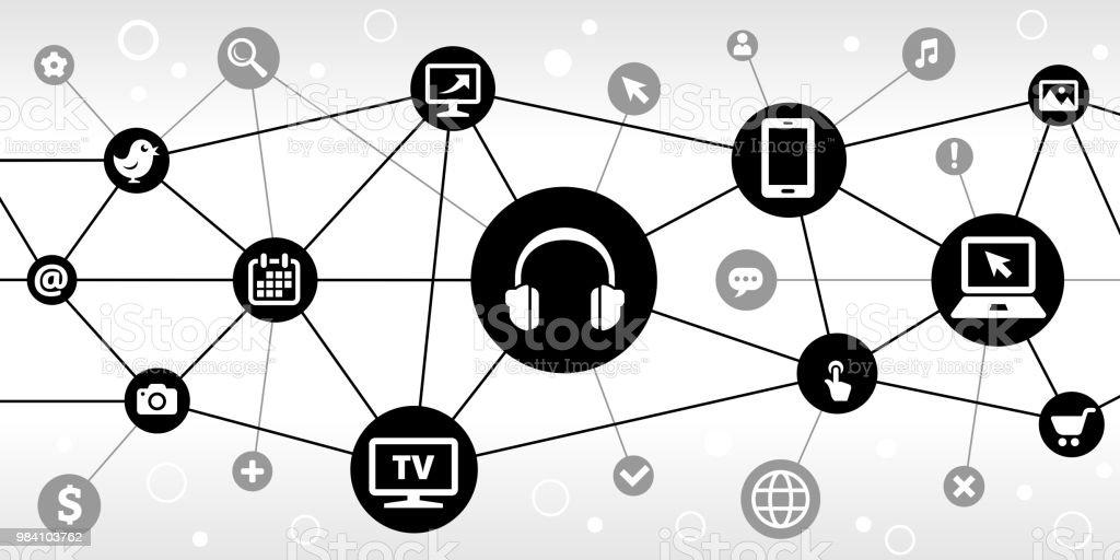 Headhphones Internet Communication Technology Triangular Node Pattern Background vector art illustration