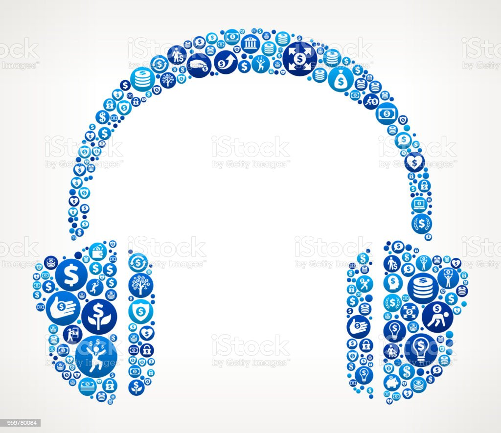 Headhphones  Money Blue Icon Pattern Background vector art illustration