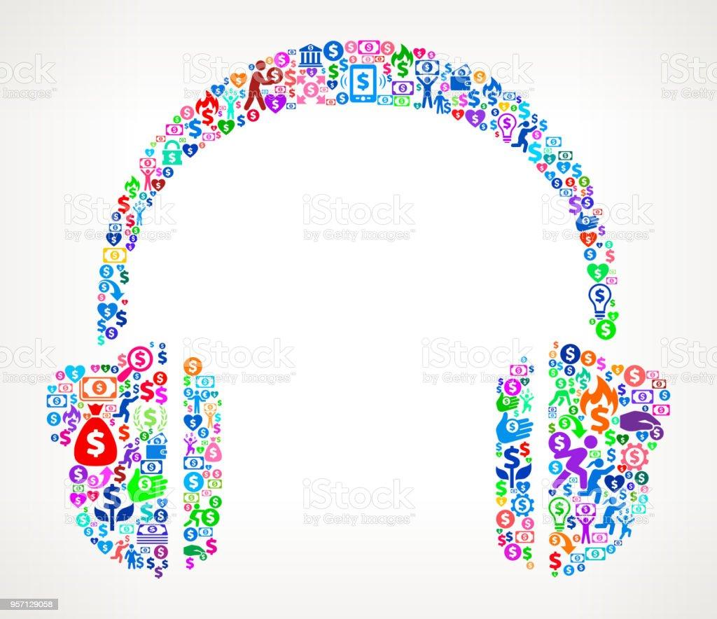 Headhphones  Money Vector Icon Pattern vector art illustration