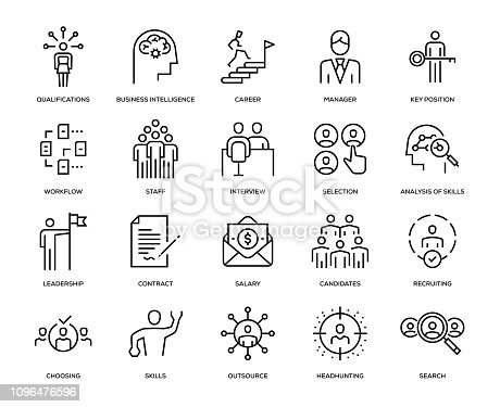 Headhunting and Recruiting Icon Set - Thin Line Series