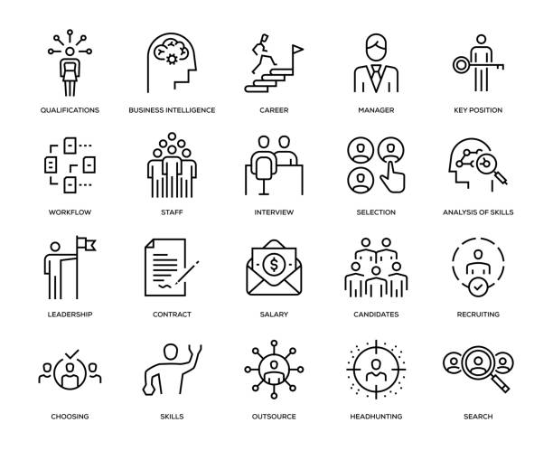 Headhunting and Recruiting Icon Set Headhunting and Recruiting Icon Set - Thin Line Series candidate stock illustrations