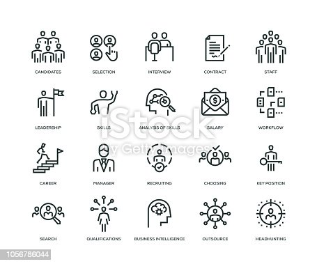 Headhunting and Recruiting Icons - Line Series