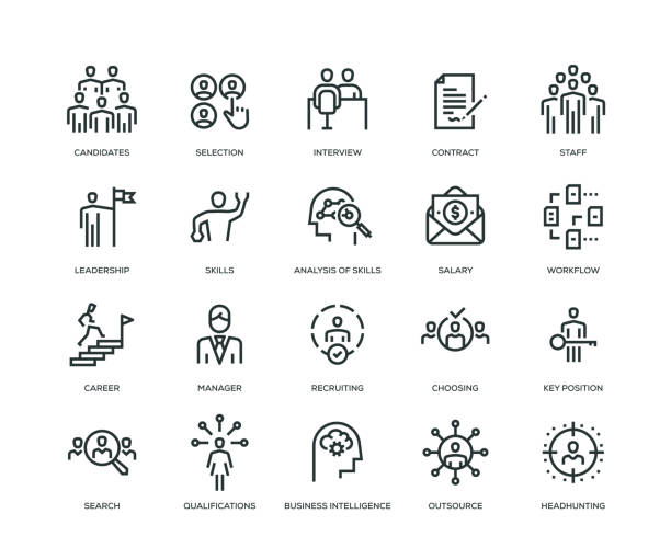 Headhunting and Recruiting Icons - Line Series Headhunting and Recruiting Icons - Line Series choosing stock illustrations