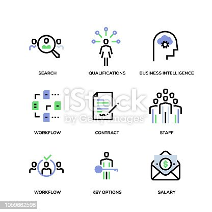 Headhunting and Recruiting Line Icon Set