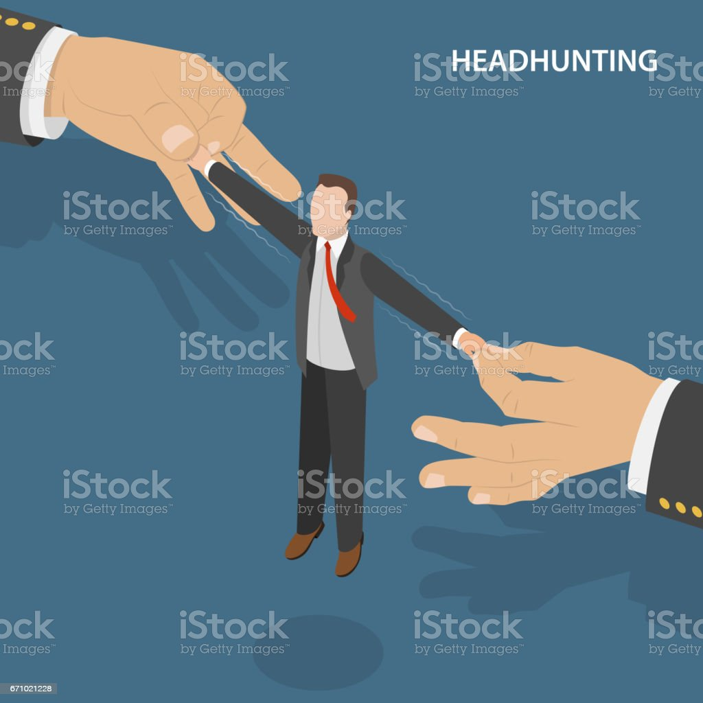 Headhunting flat isometric vectro concept. vector art illustration