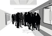 A vector silhouette illustration of a large crowd uof people in a subway station waiting to board a train.