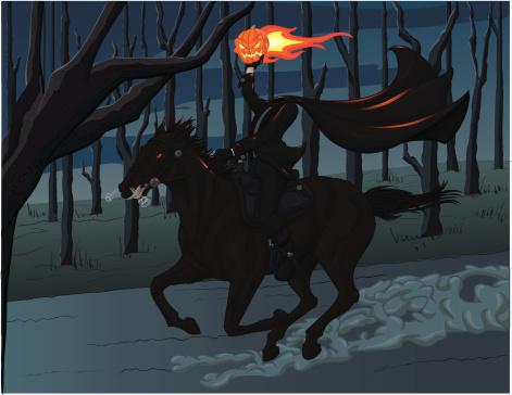 Headless Horseman Riding Horse and Holding Pumpkin Head