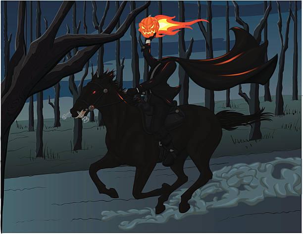 headless horseman riding horse and holding pumpkin head - 被砍頭 幅插畫檔、美工圖案、卡通及圖標