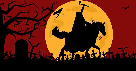 Headless man riding a horse in a cemetery
