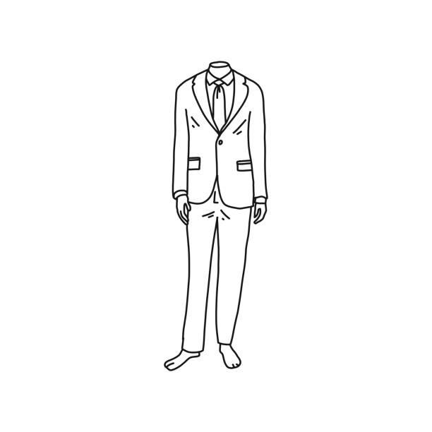 Kopflose Schaufensterpuppe in Herrenanzug gekleidet, Cartoon. – Vektorgrafik