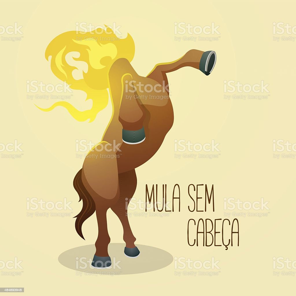 Mula sem cabeça (Headless Mule), a cursed woman vector art illustration