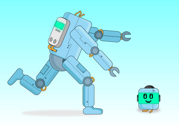 Headless Robot vector art illustration