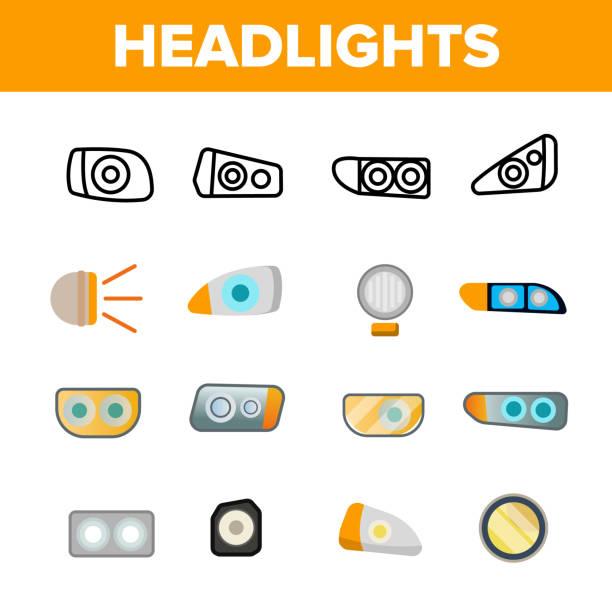 stockillustraties, clipart, cartoons en iconen met koplampen, auto koplampen lineaire vector icons set - mist donker auto